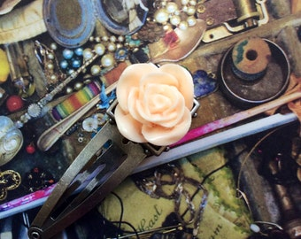 Vanilla Frosting  Rose Barrette Hair Accessory Victorian Inspired Hair Accesorie Bridal Accesories Etsy