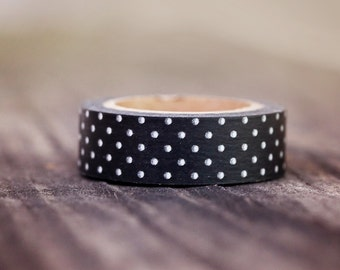 Black with White Mini Dots -  Single Roll 15mm
