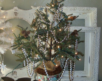 Christmas tree Pre lit table tree Shabby Chic Christmas centerpiece Christmas decor lighted christmas tree in bucket Christmas Home decor