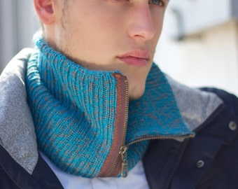 Luxurious cowl, neckwarmer, infinity scarf, hand knitted, baby alpaca and silk, Free shipping, GENTS-Duke