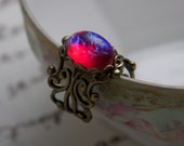 Fire Opal Ring  Dragon's Breath Opal Vintage Glass Adjustable Ring, Antique Brass