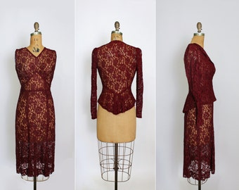 1930s dress - 30s lace dress - chantilly lace - blouse - jacket - peplum - burgundy red - extra small