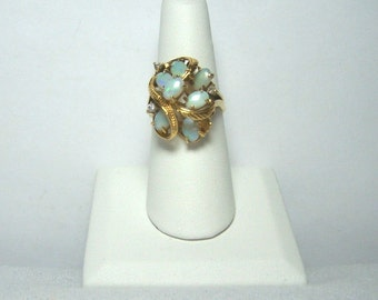 Vintage Sterling Silver Ring w/Glass Opals, Size 8