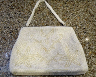 Vintage White Beaded Evening Bag Purse circa 1950