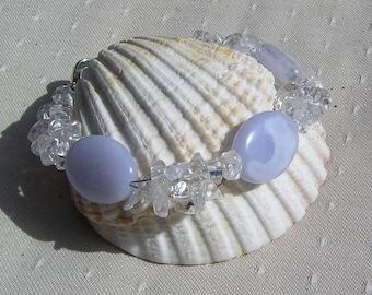 "Blue Lace Agate & Clear Quartz Crystal Gemstone Bracelet ""Wisp"", Quartz Bracelet, Chakra Bracelet, Blue Bracelet, White Bracelet, Capricorn"