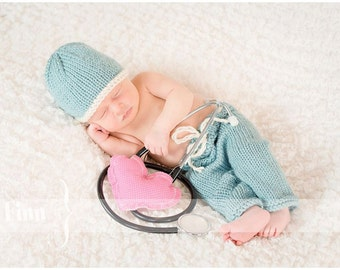 Scrub Set, Newborn Knit Pants Hat Scrubs, Baby Knitted Photo Prop, Doctors, Surgeon or Nurse, Longies, Blue or other Custom Colors Available