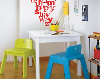 Modern Alphabet Vinyl Wall Decal for Play Room, Nursery or Bedroom