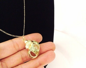 vintage long chain necklace with genuine seashell pendant verdigris and gold