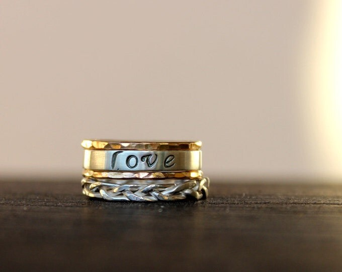Braided, Gold, and Custom Stamped Stacking Rings Set