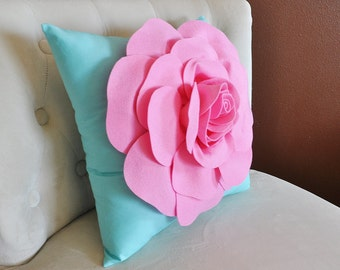 Throw Pillow Pink Rose on Bright Aqua Pillow 16 x 16