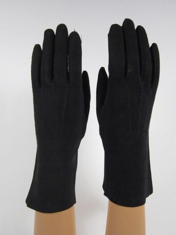 Simple Vintage Womens Dress Long Gloves Navy