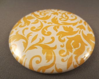 Pocket Mirror -- Yellow on White Flourish