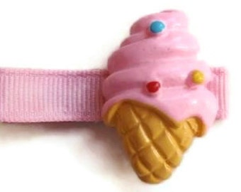 Pink Ice Cream  Cone Hair Bow Clippie Set perfect for Infant, Toddler, Tween, Teen and Adult