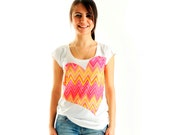 New Arrival! Pink Zigzag Women t-shirt summer fashion, one side printed
