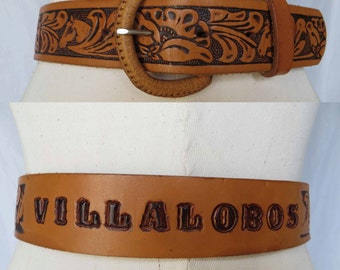 Villalobos 70's western hand tooled leather belt villalobos town of wolves XS S 25 26 27 28 horse and floral image