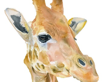 Giraffe Watercolor Painting - 5 x 7 - Giclee Print Reproduction - African Animal - Nursery Art