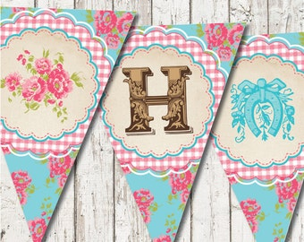 Vintage Cowgirl HAPPY BIRTHDAY Party Printable Bunting Banner  --  Downloadable digital file