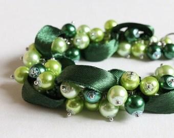 Green Bridesmaid Cluster Bracelet and Earrings Set