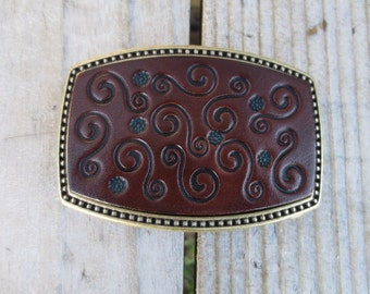 Leather Buckle with tooled Scroll Design