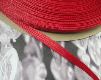 """100 yards 1/4"""" ( 7 mm ) ruby red grosgrain ribbon trim ( Made in USA ) millinery ribbon wedding favors Christmas ribbon crafts ST"""