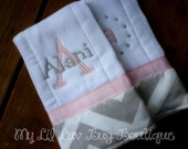Personalized burp cloth set - prefold diaper burp cloths - chevron burp cloths - set of two burp cloths - baby shower gift - baby girl gifts