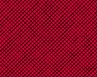Loralie-Lady in Red from Quilting Treasures - Red and Black Lattice Quilt Fabric