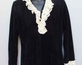 Vintage Black Velour and Ecru Lace Lounge Wear // Lounge Pants size 12 by Loungees