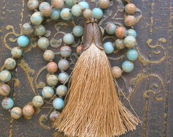 Beaded tassel necklace boho jewelry - Journey - long necklace, bohemian jewelry, aqua khaki sand, rhinestones summer beach jewelry