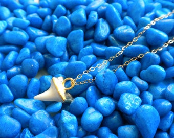 Mako shark tooth Necklace - 14k gold filled chain 18 inch
