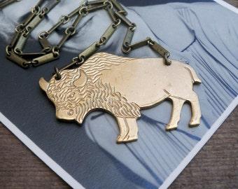 brass necklace / bison necklace / buffalo / BRASS BISON
