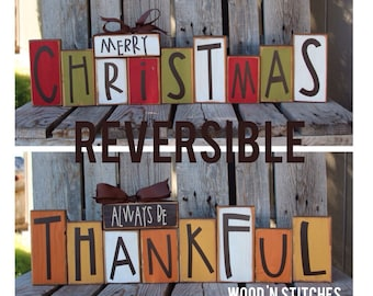 Fall autumn thanksgiving Christmas winter reversible seasonal decor wood block set personalized sign gift