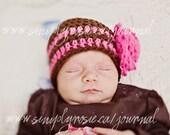 Crochet Infant Hats, Baby Girl, Crochet Baby Hat, Baby Girl Beanie for Newborn,  Brown, Pink, Cotton, Newborn Size