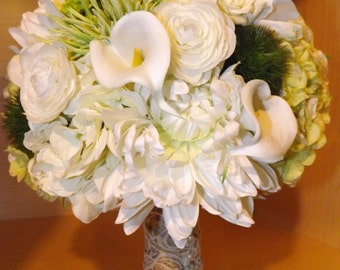 Bridal package, real touch calla lily, rose, ranunculus, hydrangea, mum and trachellium bridal bouquet, boutonniere