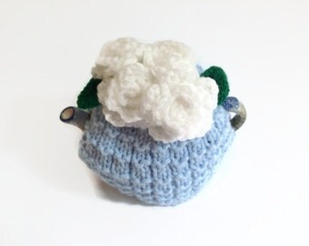 tea  cosie cozy hand knitted with white   crochet roses