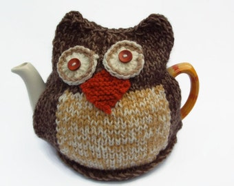owl  tea cozy hand knitted tea cosy