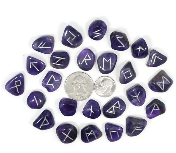 Mini Dark Amethyst Rune Set Hand Carved Elder Futhark With Manual & Pouch