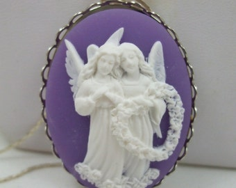 Vintage Cameo Angel   Pendant Necklace  Cream over Black or Purple and White Reproduction