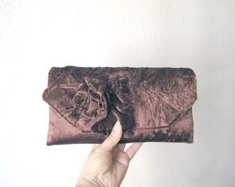 Chocolate Brown Bridal Clutch Love.. Choice your Color Unique Retro Clutch Handbag with Rose   Original design