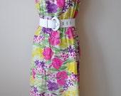 SALE Vintage 70s Bright Floral Maxi Skirt or Strapless Dress sz M