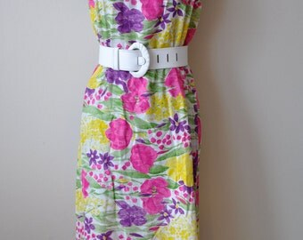 SALE Vintage 70s Bright Floral Maxi Skirt or Strapless Dress sz M