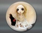 gothic doll fridge magnet, large magnet, kitchen decor, gift for doll collector, gothic art decor, original art magnet MA-AD55