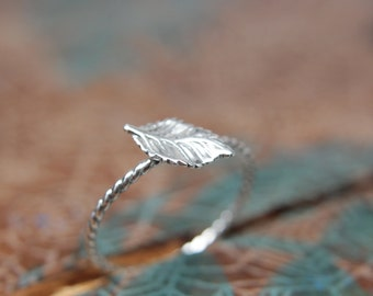 Delicate Rose Leaf Stacking Ring. Sterling silver leaf stacking ring. Springtime jewelry.
