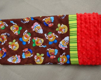 Pillowcase - Potato Head Print on Cotton with Green Strip and Red Dimple Minky