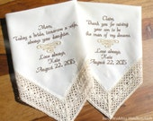 IVORY Embroidered Wedding Hankerchiefs Mother of the Bride & Groom by Canyon Embroidery