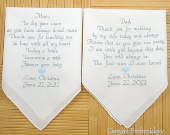 Two Wedding Gifts Personalized Gift Mother of the Bride MOB Mother of the Groom MOG Done in your Wedding Colors Hanky By Canyon Embroidery