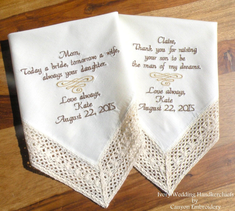 Embroidered wedding handkerchiefs ivory hankys