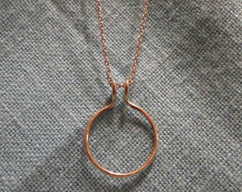 "Engagement Ring Holder Necklace 14k Gold Wedding Pendant 18"" Chain JJDLJewelryArt"