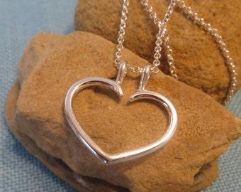 Ring Holder Necklace Heart Charm Pendant Fine Sterling Silver JJDLJewelryArt