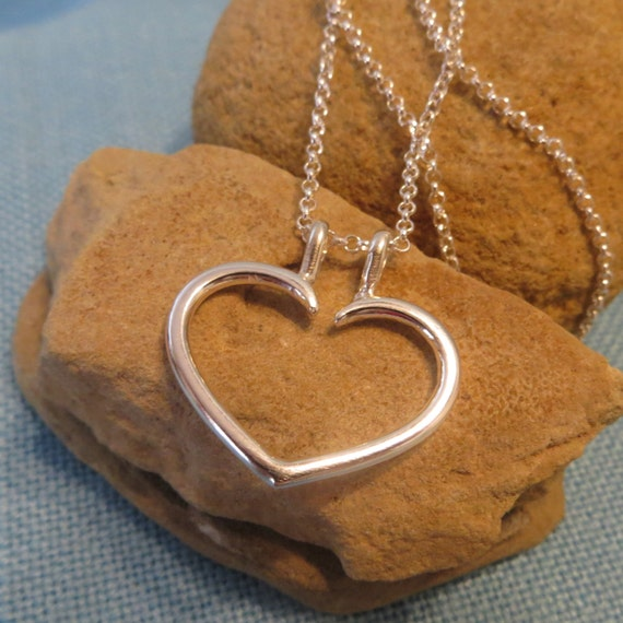 ring holder necklace heart charm pendant fine sterling silver