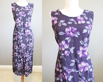 Floral Dress Vintage Loose Purple Summer 90s Medium